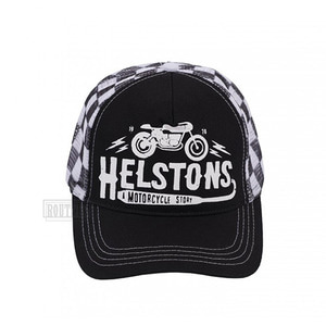 헬스톤모자 트러커캡HELSTONS TRUCKER CAPCAFE RACER BLACK WHITE